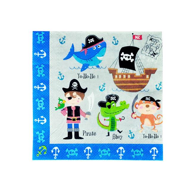 Pirate Printed Napkin Set 16 Pcs