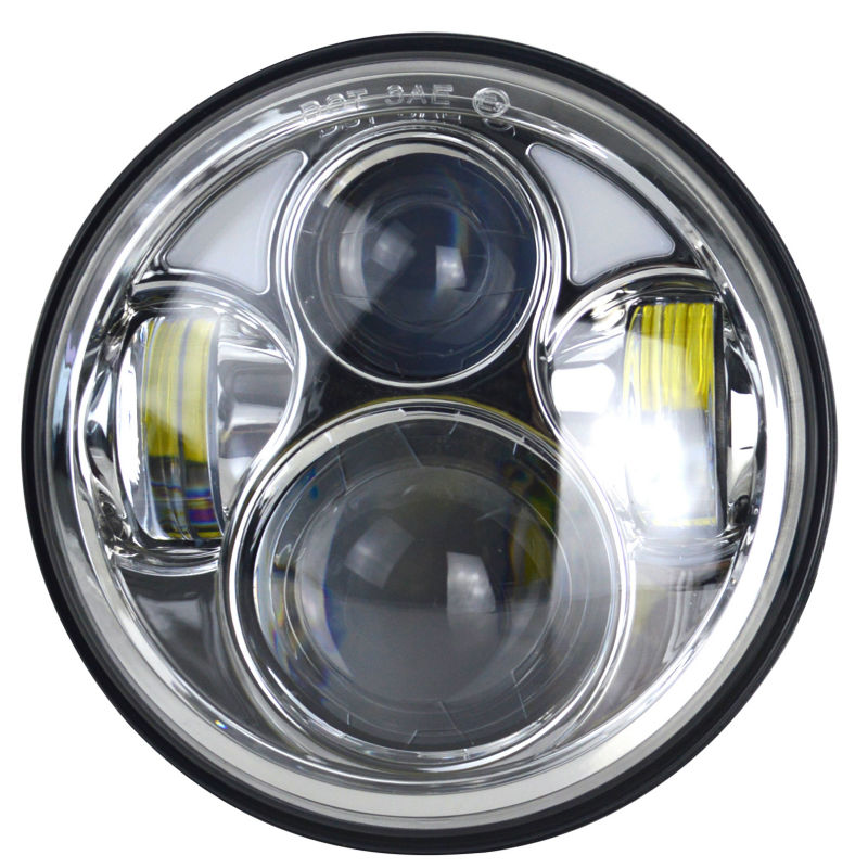 CZG-540D 5 3/4 5.75 led headlight 40w silver color 5.75 inch round headlamp with white DRL hi-low beam for harley davison moto