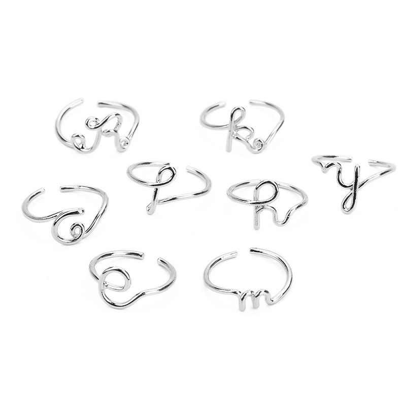 Mossovy Unisex ทองเงินสีแหวนผู้หญิงผู้ชาย A-Z 26 ปรับขนาดได้ชื่อเริ่มต้นแฟชั่นแหวนเครื่องประดับ Anillos Mujer