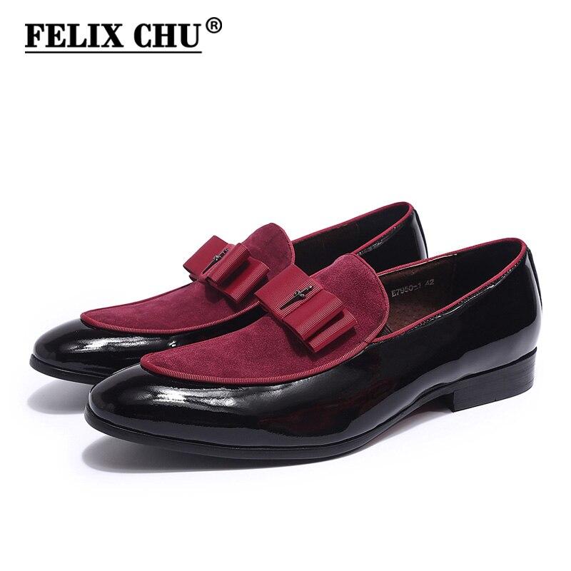 4 couleurs fête Banquet de mariage hommes mocassins en cuir verni avec daim sans lacet hommes chaussures habillées chaussures pour homme de haute qualité-in Chaussures d'affaires from Chaussures    1