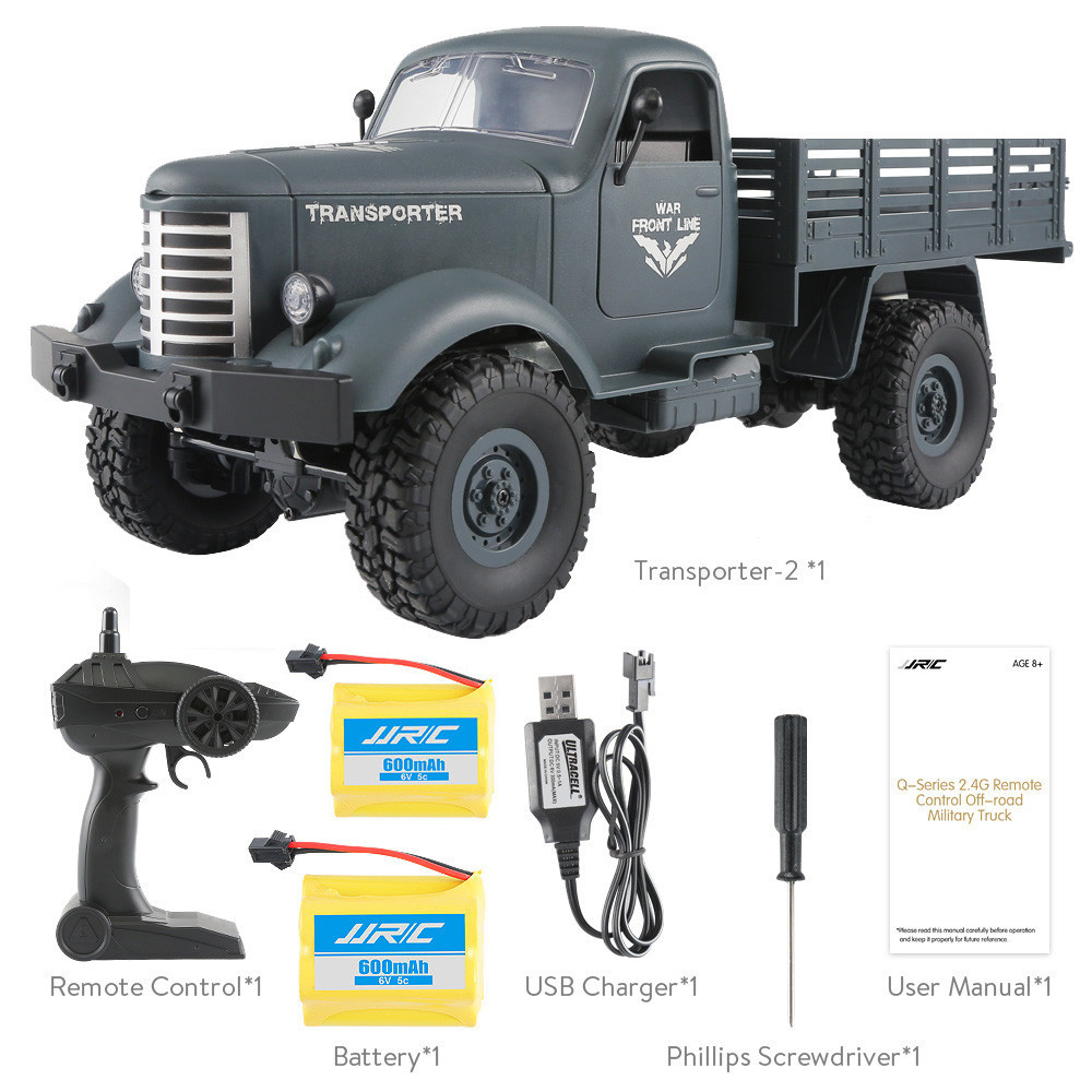 JJRC Q61 RC Truck 1:16 2.4G Radio-controlled Cars 4WD Tracked Off-Road Military Truck RTR Toys for Children Remote Control Car wltoys 12402 rc cars 1 12 4wd remote control drift off road rar high speed bigfoot car short truck radio control racing cars