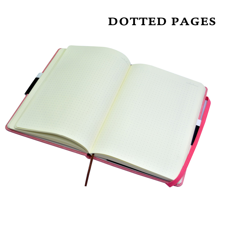 Hard Cover Dot Grid Cute Candy Color A5 PU Bullet Notebook Elastic Band Creative Dotted Journal Bujo in Notebooks from Office School Supplies