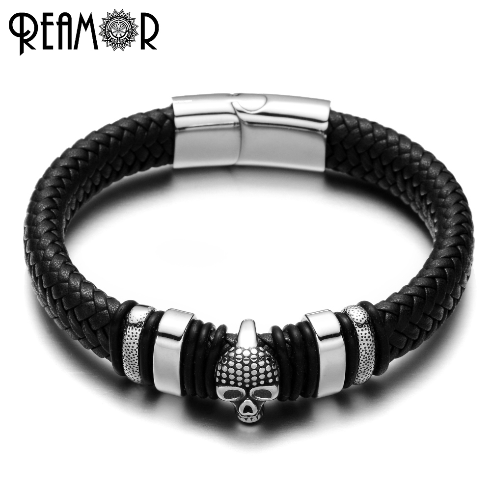 REAMOR 316L Stainless Steel Male Bracelet Skull Head Style Charms Bangles Wide Braided Leather Rope Bracelets Fashion Jewelry