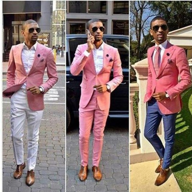 Fashion Wedding Tuxedos Pink 2 Piece Groom Suits Mens Groomsmen Slim Fit Best Man Prom Celebrity