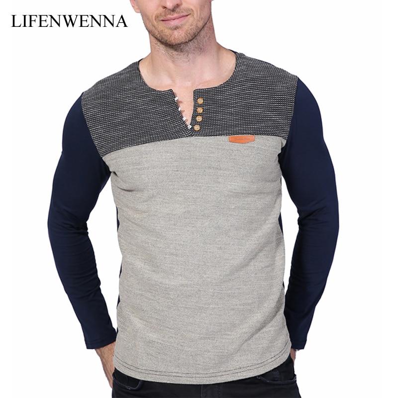 Hot Sale 2019 New Fashion Brand O-Neck Slim Fit Long Sleeve T Shirt Men Trend Casual Mens T-Shirt Patchwork Tee Shirts 4XL 5XL