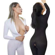 Erotic Sexy Lingerie for Women Open Crotch Black Striped Sheer Bodystocking Bodysuit Smooth Fiber Double Zipper Long Sleeves(China)