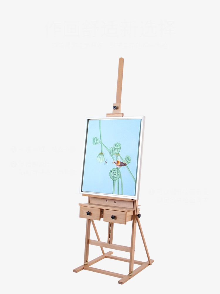 Floding wooden easel sketching oil painting scaffolding Sketchpad with drawers landing can lift the adult oil painting frame.Floding wooden easel sketching oil painting scaffolding Sketchpad with drawers landing can lift the adult oil painting frame.