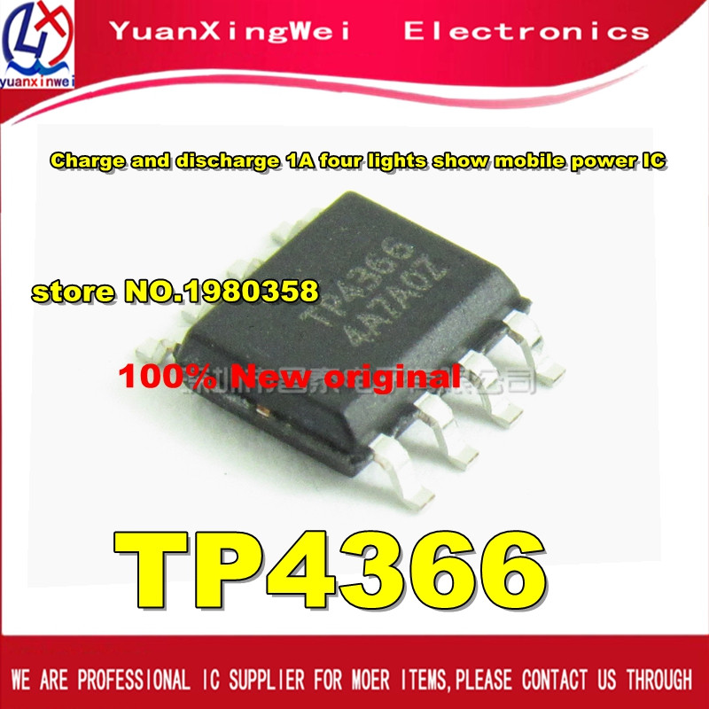 Free Shipping 10pcs TP4366 SOP-8 Charge and discharge 1A four lights show mobile power IC 50pcs ns4158 sop 8