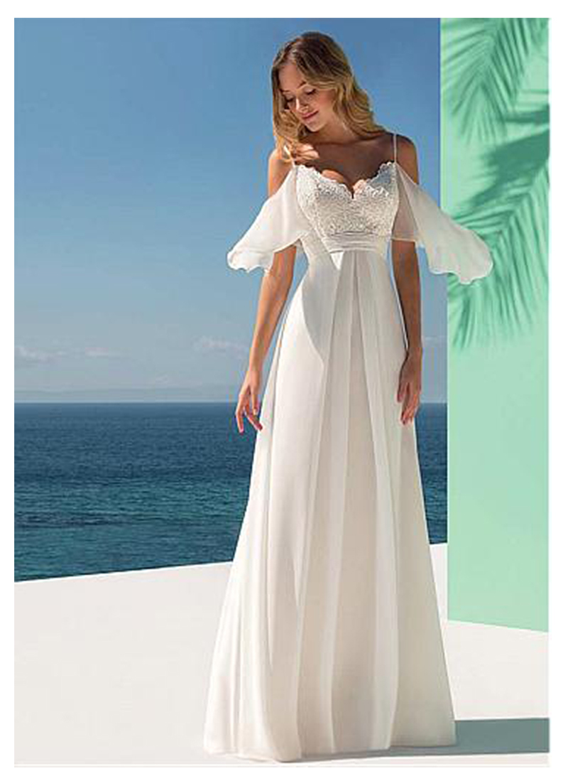 Ivory Informal Bridal Dress 2019 Beach Wedding Dresses Romantic Vestido de noiva Chiffon Wedding gown in Wedding Dresses from Weddings Events