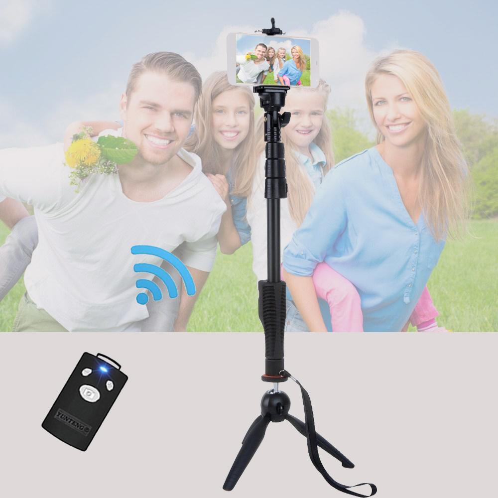 Prix pour Pour IOS Android Smartphone Gopro DSLR Caméra 3in1 Yunteng 1288 Bluetooth Selfie Bâton Retardateur Pôle Manfrotto & VCT-228 trépied