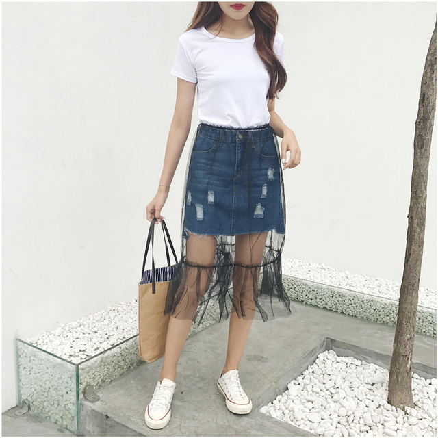 77be684c9a New 2017 spring and summer Korean fashion element style simple casual yarn  + denim skirt detachable two-piece B53