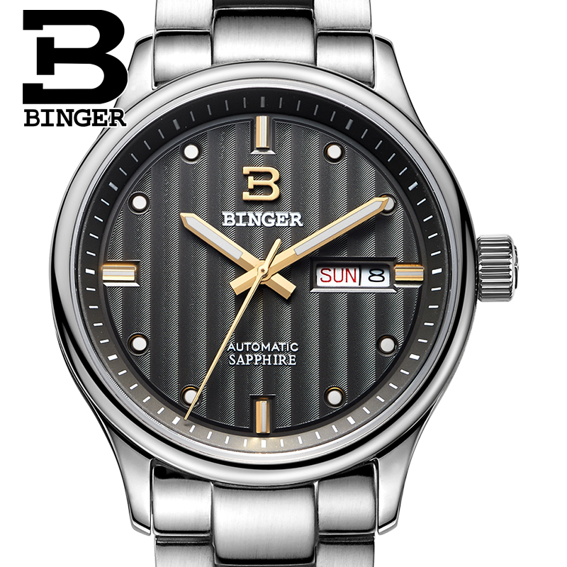 Switzerland watches men luxury brand Wristwatches BINGER business Automatic self-wind sapphire full stainless steel B5006-9 цена