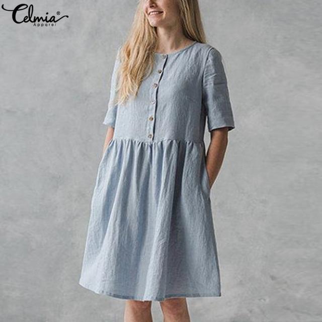 cbf5641862558 US $11.73 45% OFF 5XL Summer Dress 2018 Celmia Women Short Sleeve Vintage  Linen Dresses Button Down Long Top Casual Party Tunic Vestidos Plus Size-in  ...