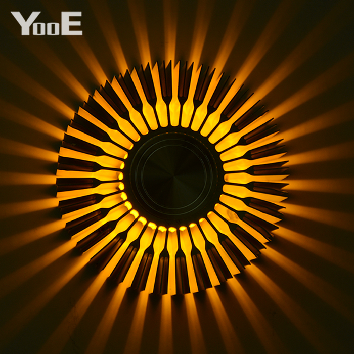 YooE Indoor Lighting 3W LED Wall Lamps Sunflower Projection Rays Wall Sconce AC110V/220V Colorful LED Wall Light Yellow/Blue/Red