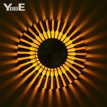 YooE Innen Beleuchtung 3W LED Wand Lampen Sonnenblumen Projektion Rays Wandleuchte AC110V/220V Bunte LED Wand licht Gelb/Blau/Rot