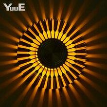 YooE iç mekan aydınlatması 3W LED duvar lambaları ayçiçeği projeksiyon ışınları duvar aplik AC110V/220V renkli LED duvar açık sarı/mavi/kırmızı