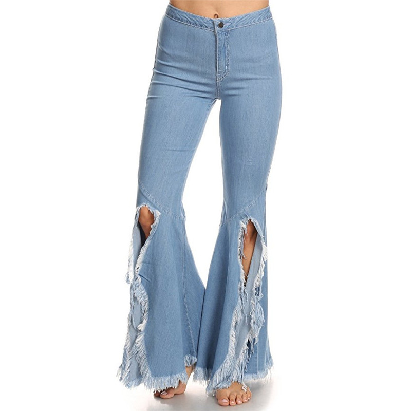 moruancle 2017 new womens ripped wide leg jeans pants distressed flare denim trousers with holes high waist boot cut size s xxl MORUANCLE Womens Fashion Irregular Flare Jeans Pants With Tassel Wide Leg Bottom Cut Denim Trousers For Woman Front Split