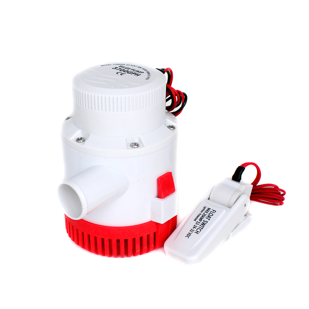 Large flow dc 12v 24v bilge pump with bilge float switch 3000GPH electric water pump for boats submersible 12 24 volt 3000 gph 51mm dc 12v water oil diesel fuel transfer pump submersible pump scar camping fishing submersible switch stainless steel
