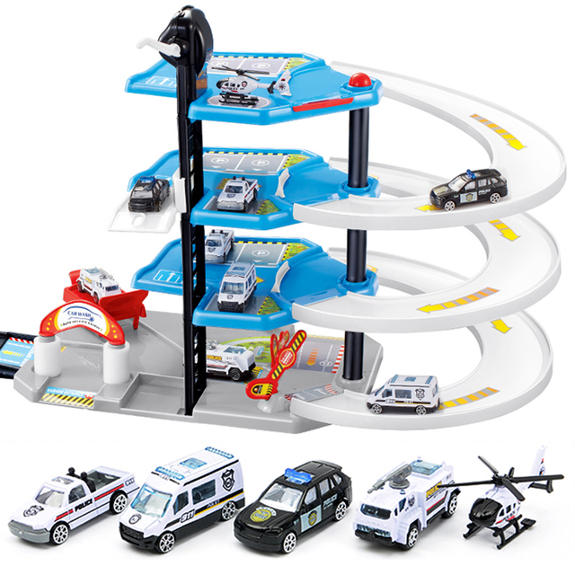 US $21 11 28% OFF|DIY Track 3D Car Racing Track Toys Car Parking lot  Assemble Railway Rail Car Toy DIY Slot Model toys for kids Children  Birthday-in