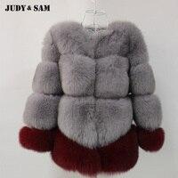 2017 Женский Новый Дизайн смешанный цвет серый и винно красный лисий мех плюс размер лисий мех зимняя куртка с отделкой из меха толстый натура
