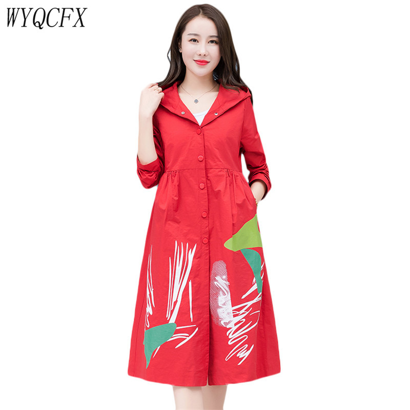 Trench   Coat For Women Spring Autumn Print Clothing Loose Hooded Long Women's Windbreaker 2019 Fashion Single-breasted Outerwear