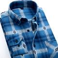 Новая Мода 2017 Осень Зима Сорочка Homme Мужчины Повседневная Плед рубашка С Длинным Рукавом Slim Fit Популярный Дизайн Теплые Фланелевые Мужские рубашки