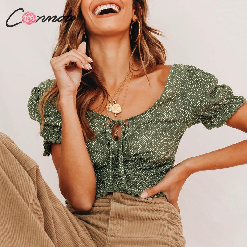 Conmoto Casual Vintage Green Polka Dot Women Crop Tops And Blouse 2019 Summer Fashion V Neck Lace Up Blouse Puff Sleeve Blusa