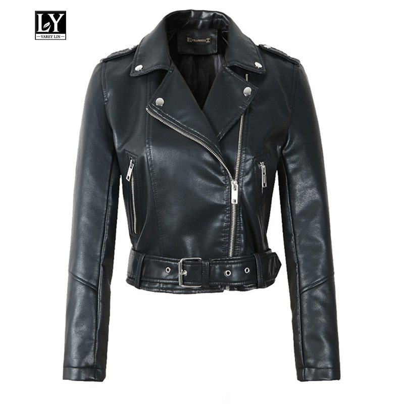 Ly Varey Lin Autumn Women Faux Soft   Leather   Pu Motorcycle Jacket Coats Female Rivet Epaulet Zipper Punk With Belt Outerwear