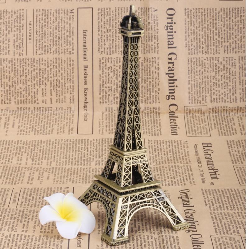 New Retro Metal Statue Figurine Paris Eiffel Tower Office Ornament Home Decor