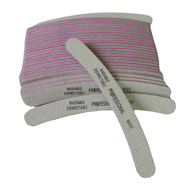 100Pcs 80/80 Grey Curved Professional Nails File Emery Board Nail ...