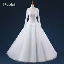 Real Photo Ball Gown Tull Appliques Long Wedding Dresses Scoop Long Sleeves Zipper Up Bridal Gown For Wedding ASAFN23
