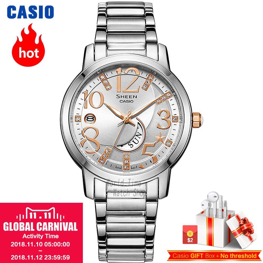 все цены на Casio watch SHEEN Women's Quartz Watch Fashion Elegant Sun and Moon Star Rhinestone Watch SHE-4028 SHE-4029
