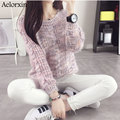 Aelorxin Fashion New Arrival 2016 Women Warm Sweaters Pullovers O-Neck Long-sleeved Lady Sweater Pink Sweet Girl Sweaters