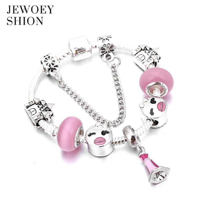 JEWOEY SHION Glamorous Elegant Charm Feminine Jewelry Gift Simple Cute Pink Skirt Popualr charm bracelet for women