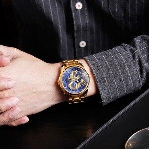 Image 2 - SKMEI Top marka luksusowy męski zegarek złoty smok zegarki kwarcowe mężczyźni wodoodporny wyświetlanie daty ze stali nierdzewnej zegarek na rękę z paskiem, bransoletą mężczyzna