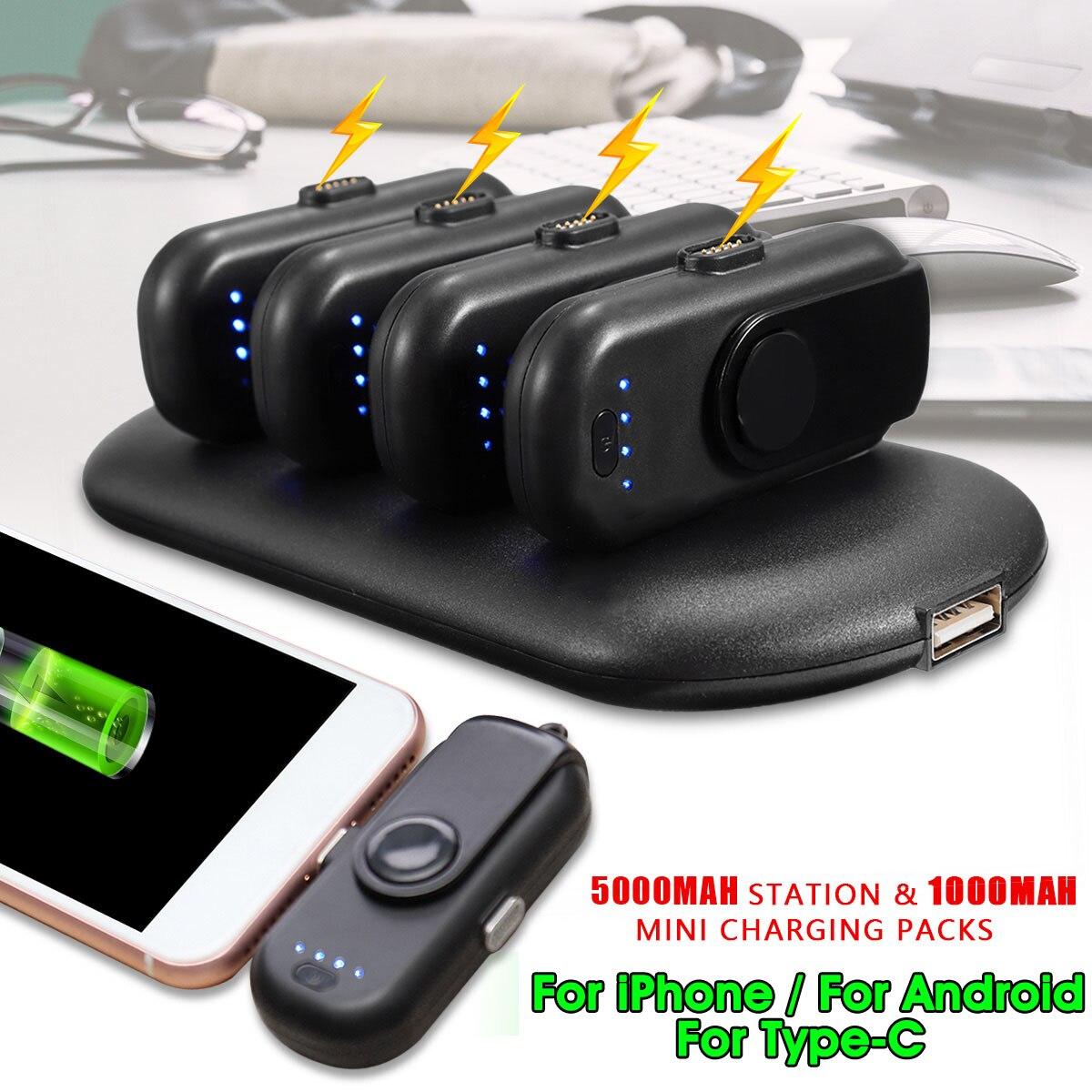 LEORY 4 en 1 Mini Portable batterie externe doigt magnétique Pow chargeur pour iPhone Lightning/Android/type-c chargeur de téléphone Portable