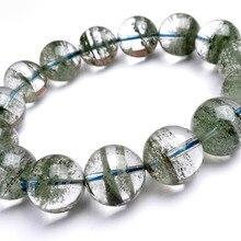 Прямая 14 мм настоящий натуральный хлорит Cornucopia зеленый фантомный кварц хрустальные прозрачные круглые бусины стрейч мужской браслет