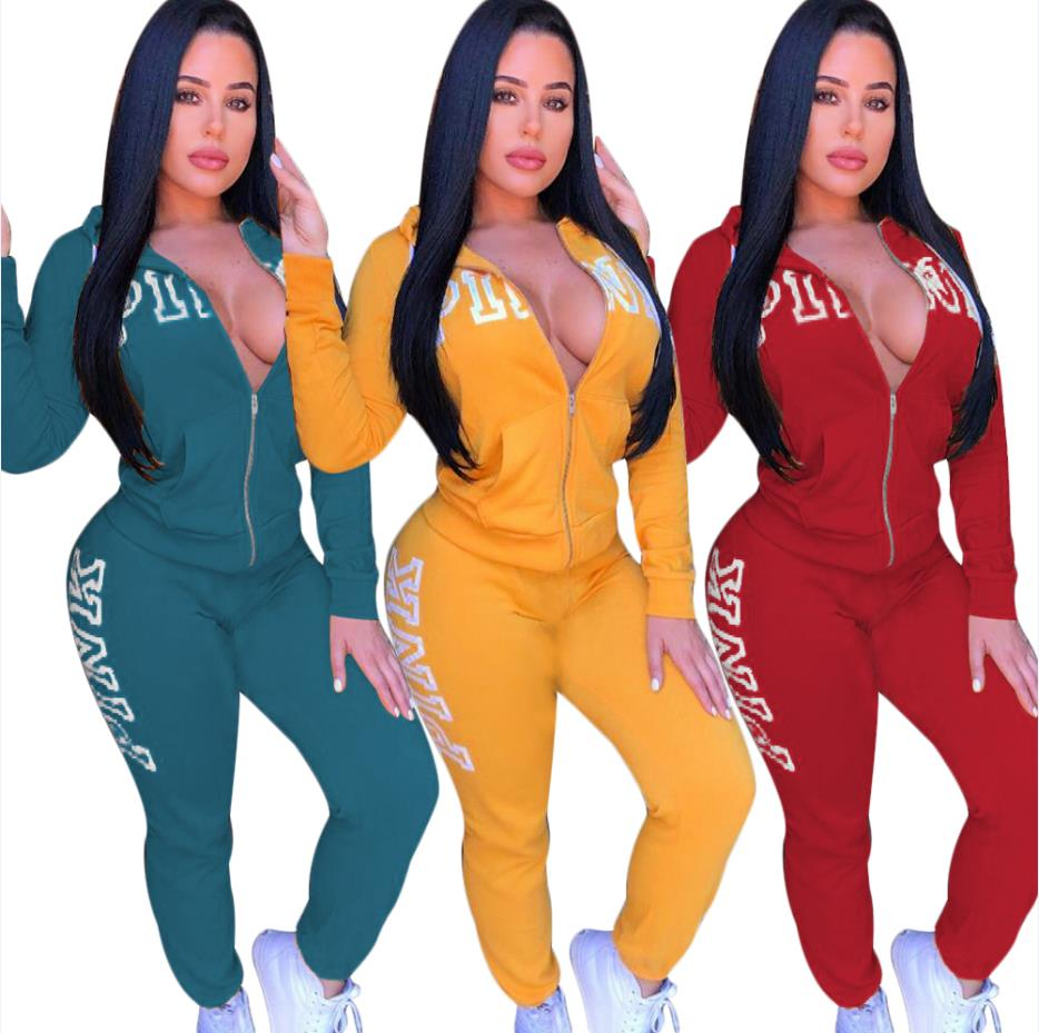 2018 Spring Letter Pink Print Tracksuit Women Casual Outfits Two Piece Set Pants Suits Plus Size Clothing