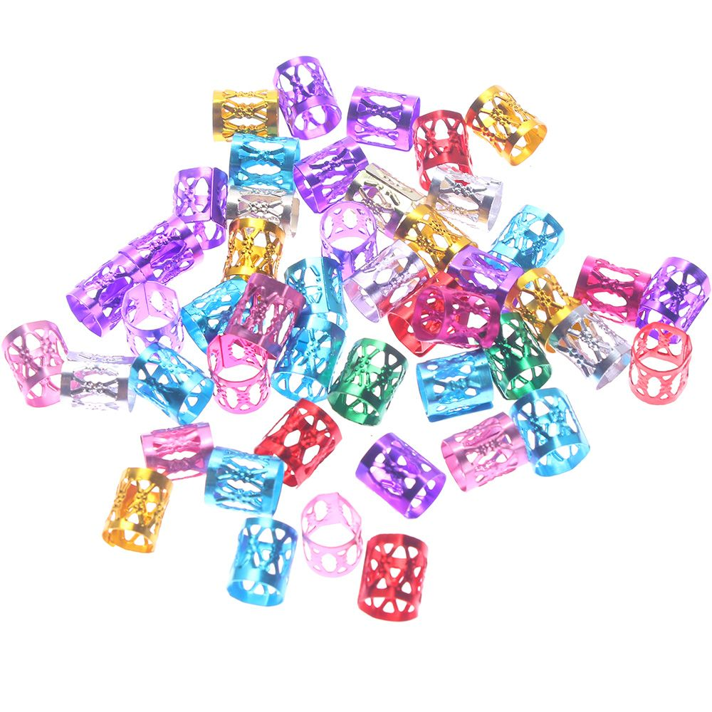 50pcs 8mm 6 Colors Mixed Beads Adjustable Hair Braids Dreadlock Beads Adjustable Hair Braid Rings Cuff Clips Tubes Jewelry(China)