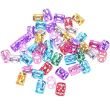 50pcs 8mm 6 colors Mixed Beads Adjustable Hair Braids Dreadlock Beads Adjustable Hair Braid Rings Cuff Clips Tubes Jewelry