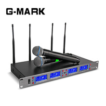 G-MARK Professional 4 Handheld Karaoke Microphone Wireless System Frequency Adjustable 4 channel UHF receive Video Stage pro 4 handheld 4 tabletop gooseneck wireless digital conference microphone system uhf adjustable frequency 400 channel