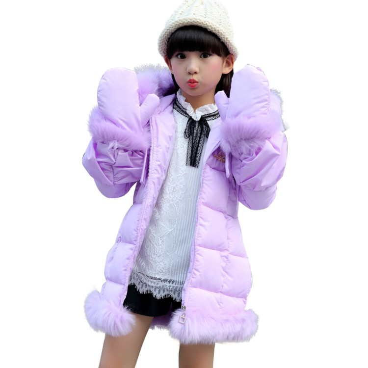 2017 Fashion Girl winter down Fur Jackets Children Coats <font><b>warm</b></font> <font><b>glove</b></font> 100% thick cotton Kids Outerwears for cold -30 degree jacke