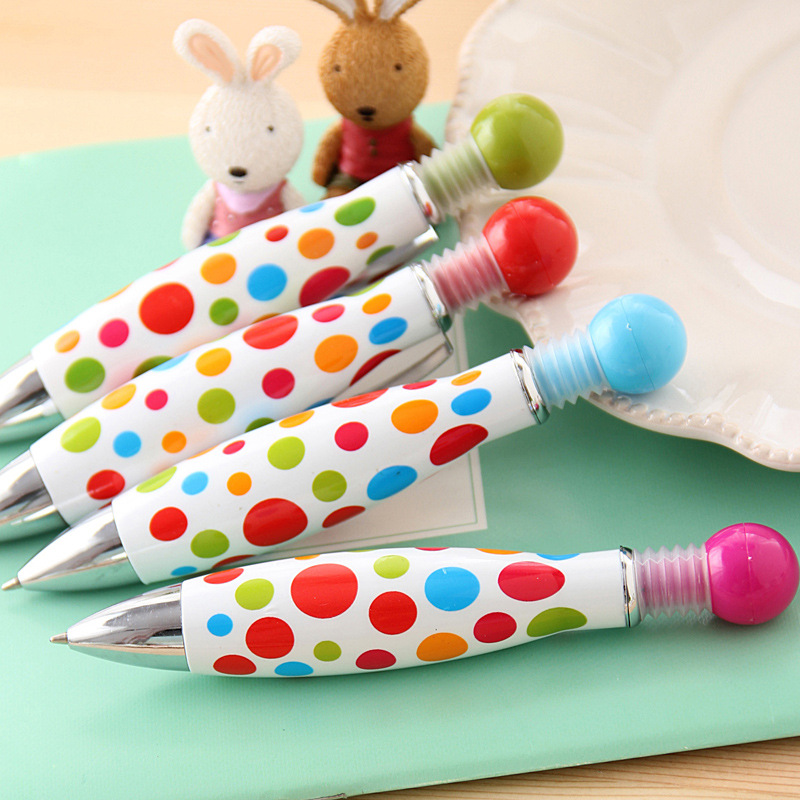 40pcs lot Polka dot print candy colorful cute creative stationery bowling ball point pens thick fat