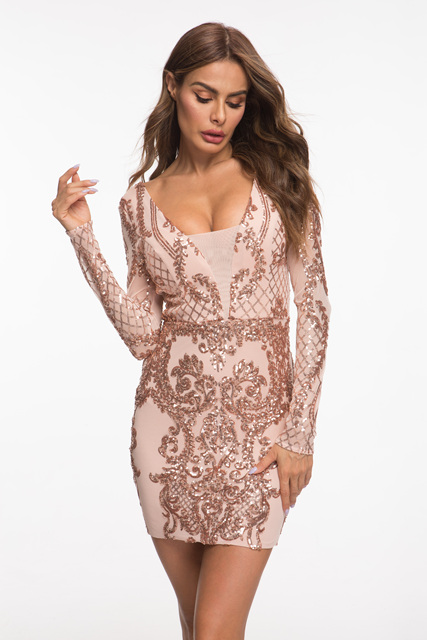 Evnora babe 2019 new style sequin long sleeve short dress party dress 4