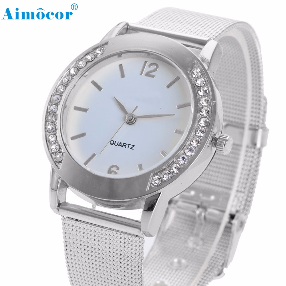 Fashion Women Crystal Silver Stainless Steel Analog Quartz Wrist Watch Bracelet relogio reloj pulsera de cuero Z510 5Down migeer fashion man stainless steel analog quartz wrist watch men sports watches reloj de hombre 2017 20 gift