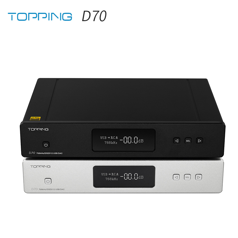 TOPPING D70 AK4497*2 DAC AK4118 Receiver XMOS XU208 DSD512 Native 32Bit/768kHz Hi-Res Audio With Remote Control Decoder