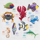 5pcs/Lot Adhesive Fish crab embroidery patches Underwater animal cartoon lace applique patch DIY cloth dress coat materials