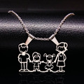 Familia mamá collar de acero inoxidable collares de la joyería plateado plata amor boy girl pendant choker collar regalo de las mujeres n166264