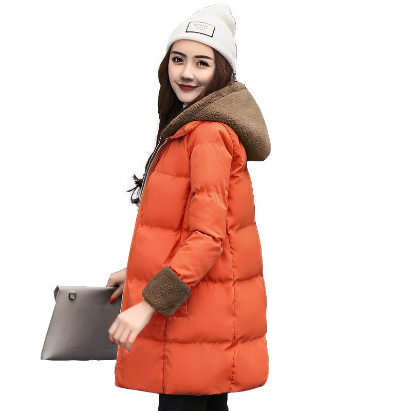 Fashion Warm Lambswool Hooded Thick Cotton Parka Padded Manteau Femme Hiver Casual Solid Color Wadded Winter Jacket TT3349 real fox fur warm hooded padded jacket women solid color casual manteau femme hiver medium long parka slim coat cotton tt3461