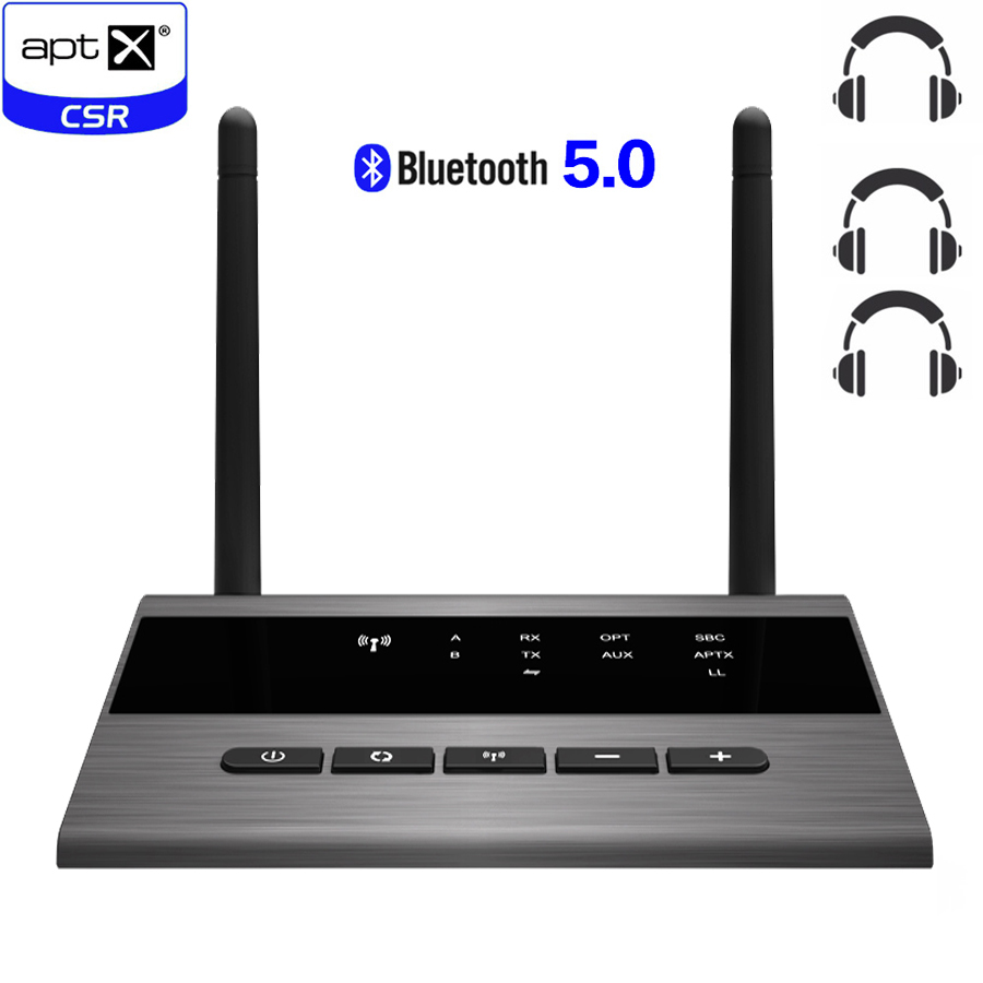 262ft/80m Long Range Bluetooth 5.0 Broadcast Audio Music Transmitter Receiver 4 In 1 Wireless Audio Adapter Low Latency AptX HD